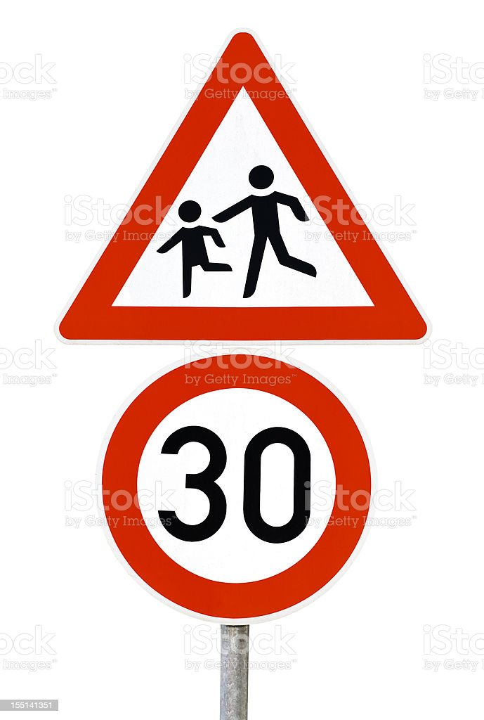 Traffic sign - speed limit 30 km/h, beware of children royalty-free stock photo