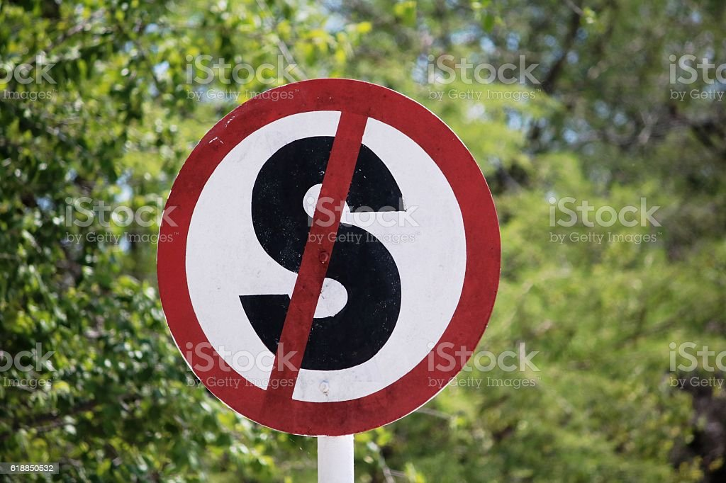 Traffic sign Stop ban in Namibia, Africa stock photo