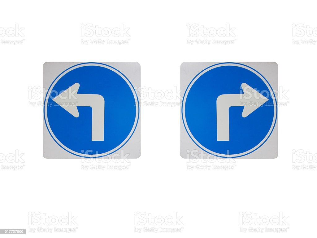 Traffic sign telling, turn left , turn right sign. Arrow stock photo