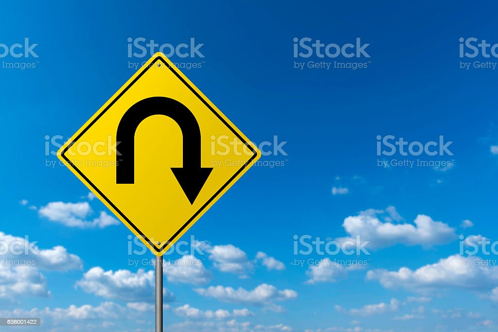 Traffic sign - U Turn stock photo
