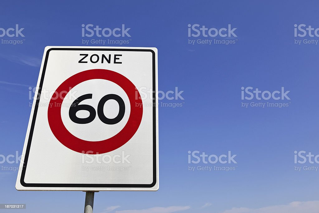 Traffic sign with 60 royalty-free stock photo