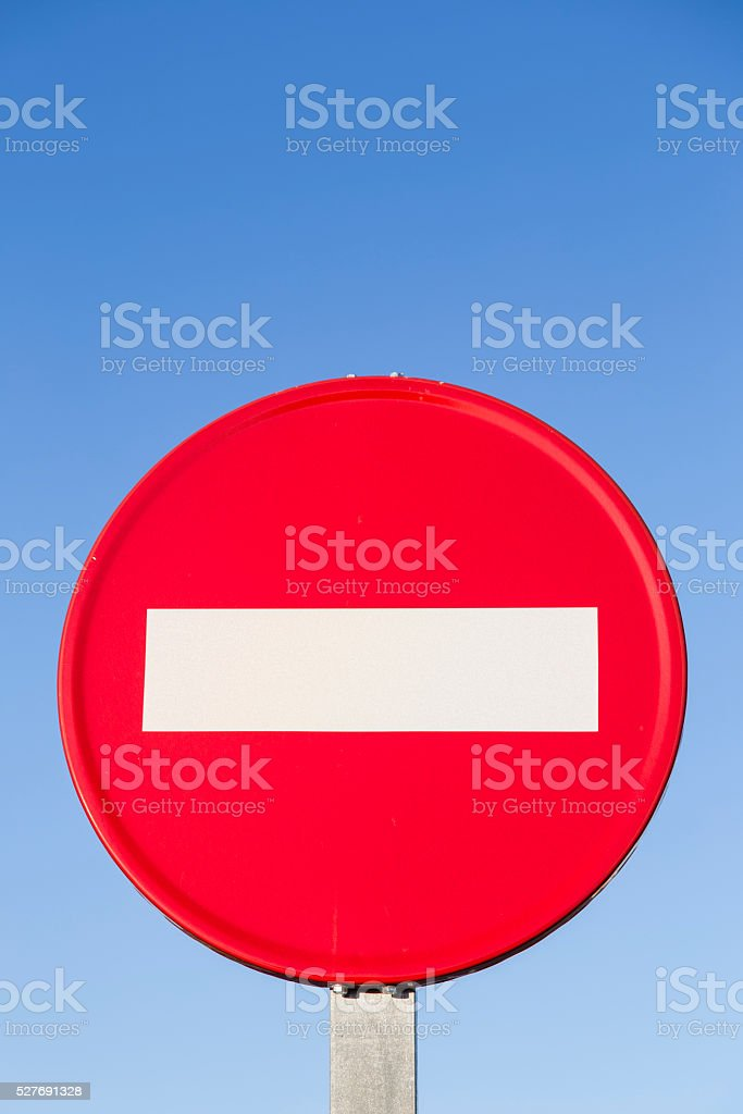 traffic signal forbidden to drive red and white step stock photo