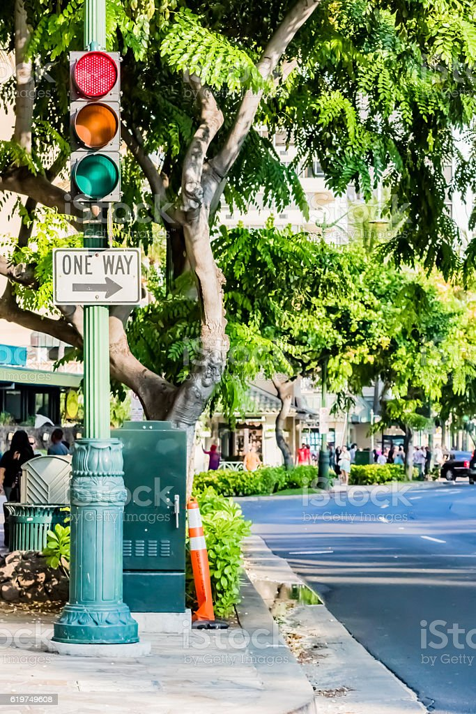 Traffic signal in Hawaii stock photo