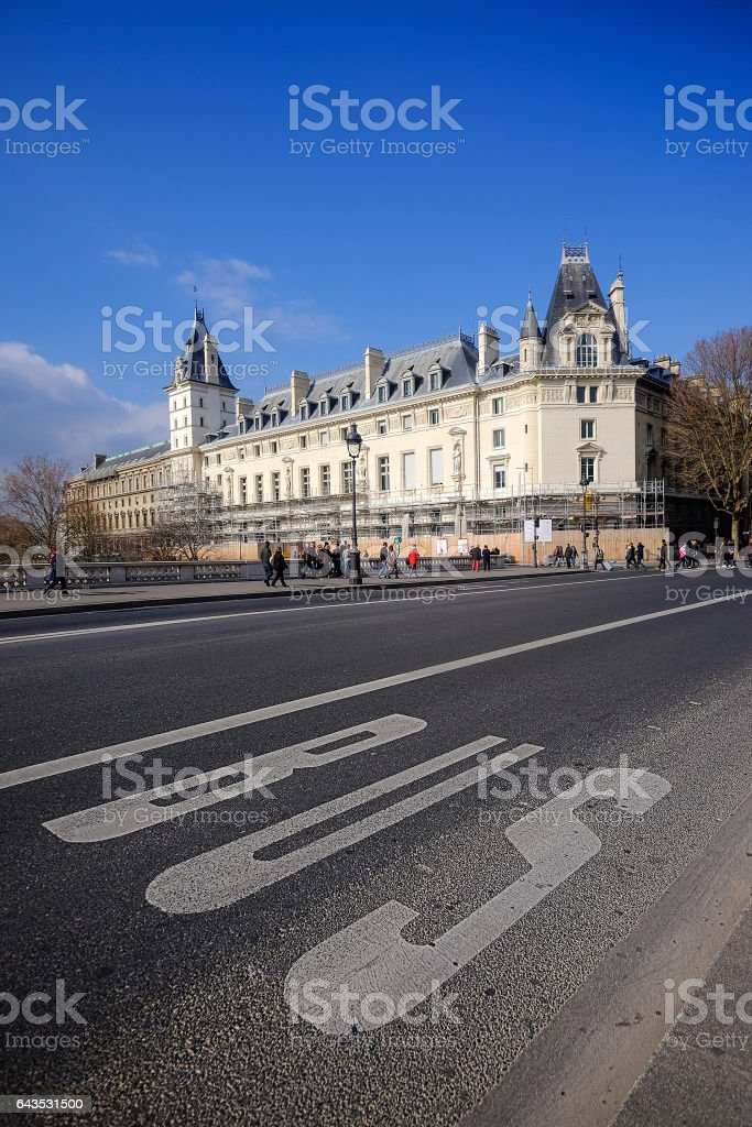 Traffic signs - Bus lanes and parking road markings stock photo