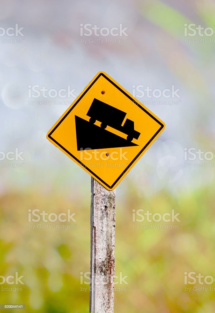 Traffic signs down hill stock photo