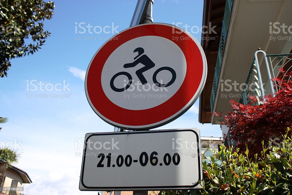 Traffic signs - driving ban for motorcycles 21:00 to 6:00 stock photo
