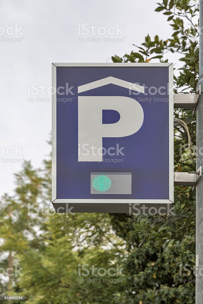 Traffic signs for parking lot and paid free zones stock photo