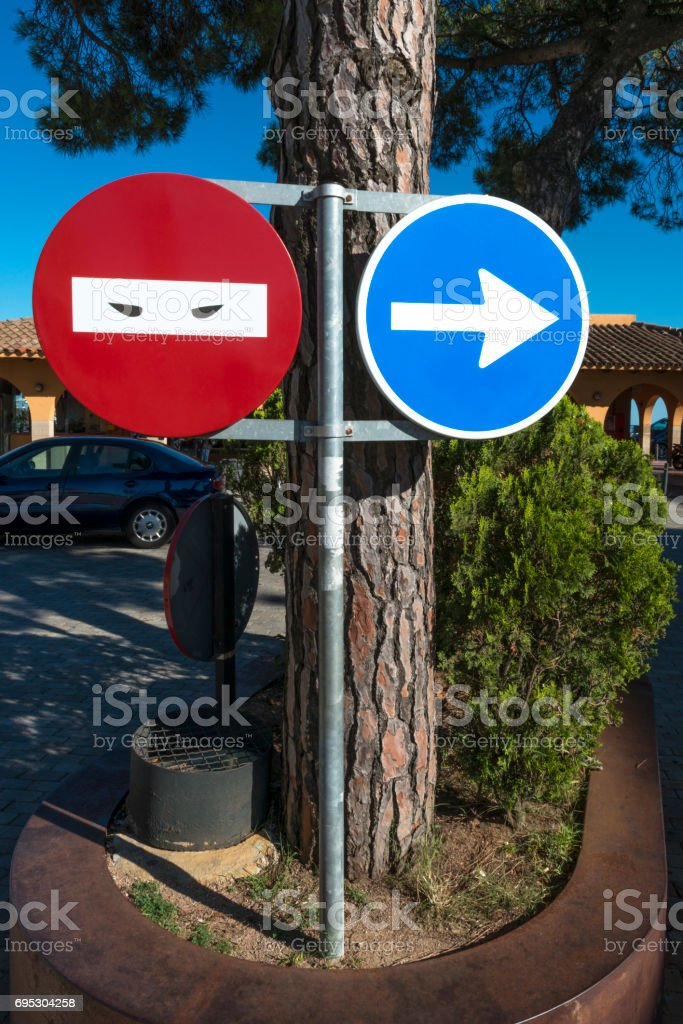 Traffic signs in Barcelona, Spain stock photo