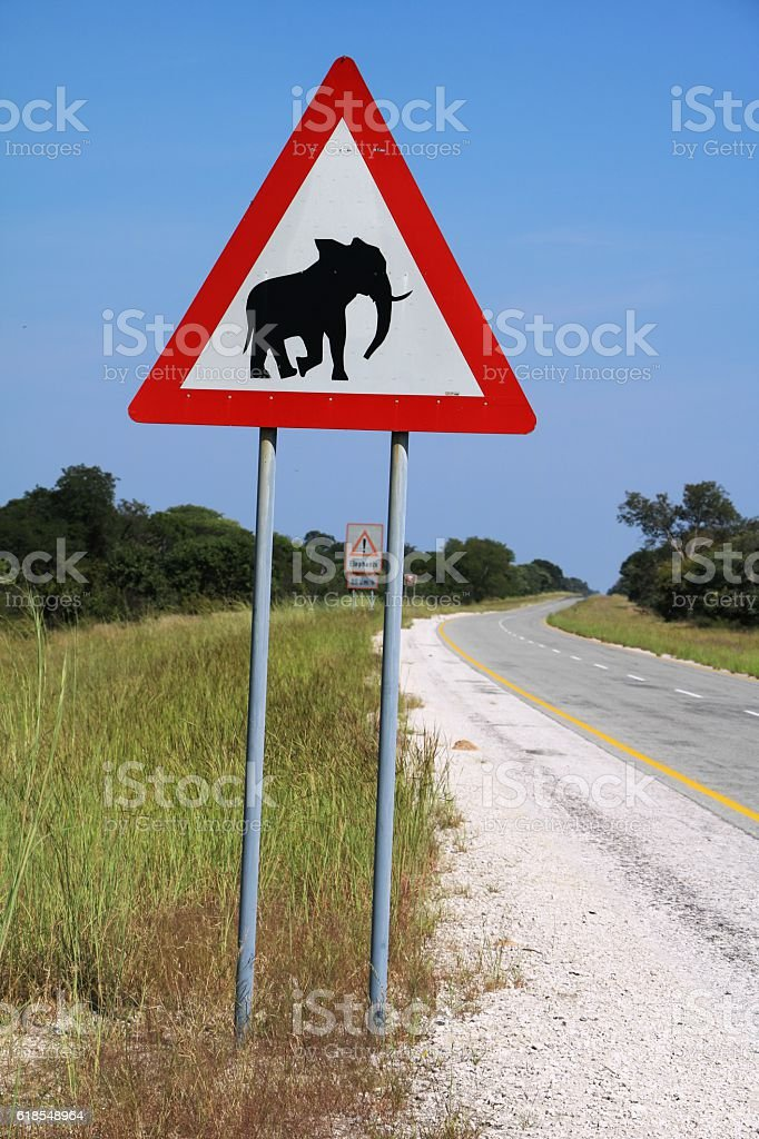 Traffic signs in Botswana, Africa - Caution Elephants! stock photo