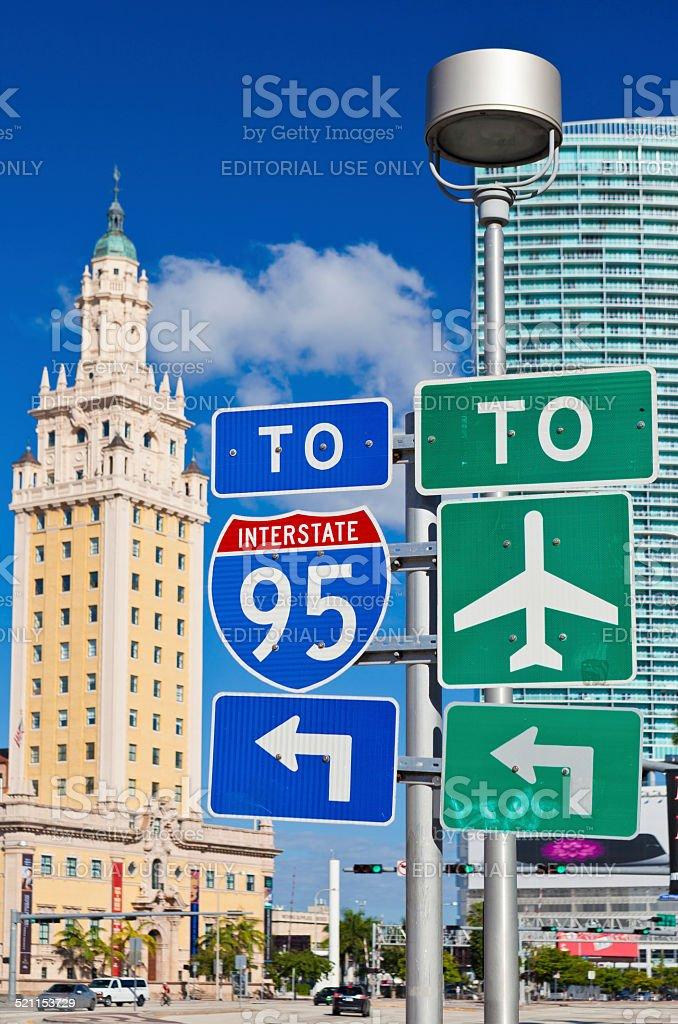 Traffic Signs In Miami, Florida stock photo