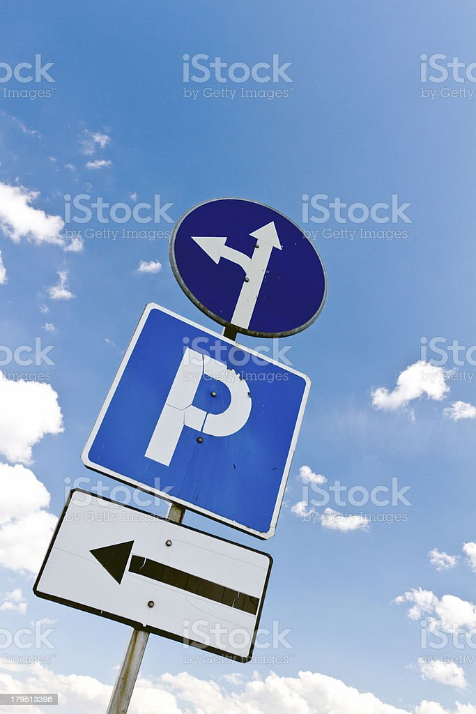Traffic signs photo close up royalty-free stock photo