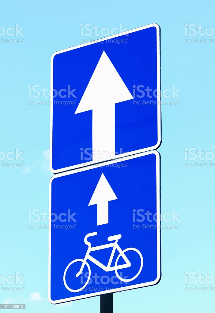 Traffic signs road for cycling stock photo