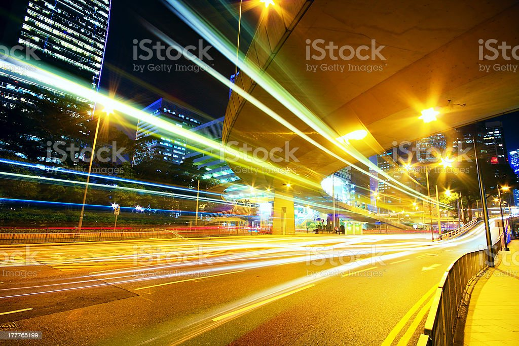 Traffic speed at night royalty-free stock photo
