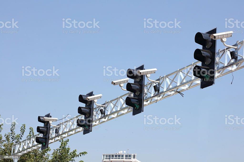 traffic surveillance cameras and traffic lights stock photo