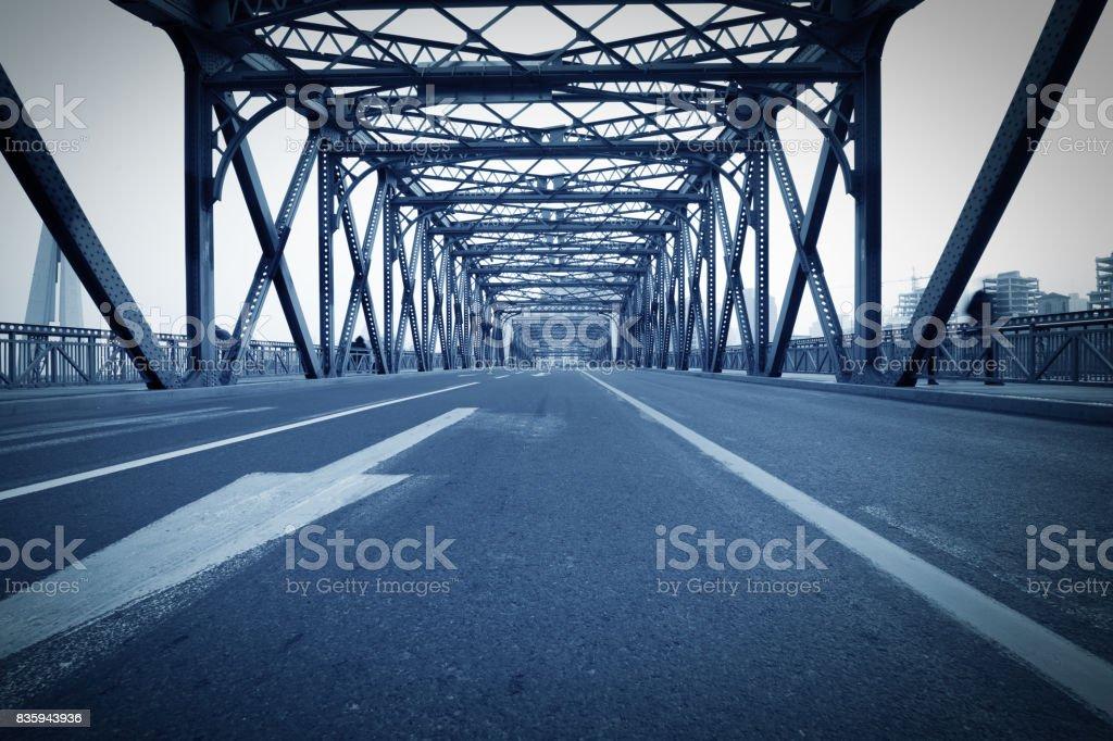 traffic through bridge with blur trail stock photo
