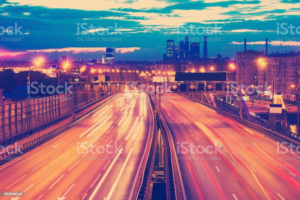 traffic through downtown stock photo