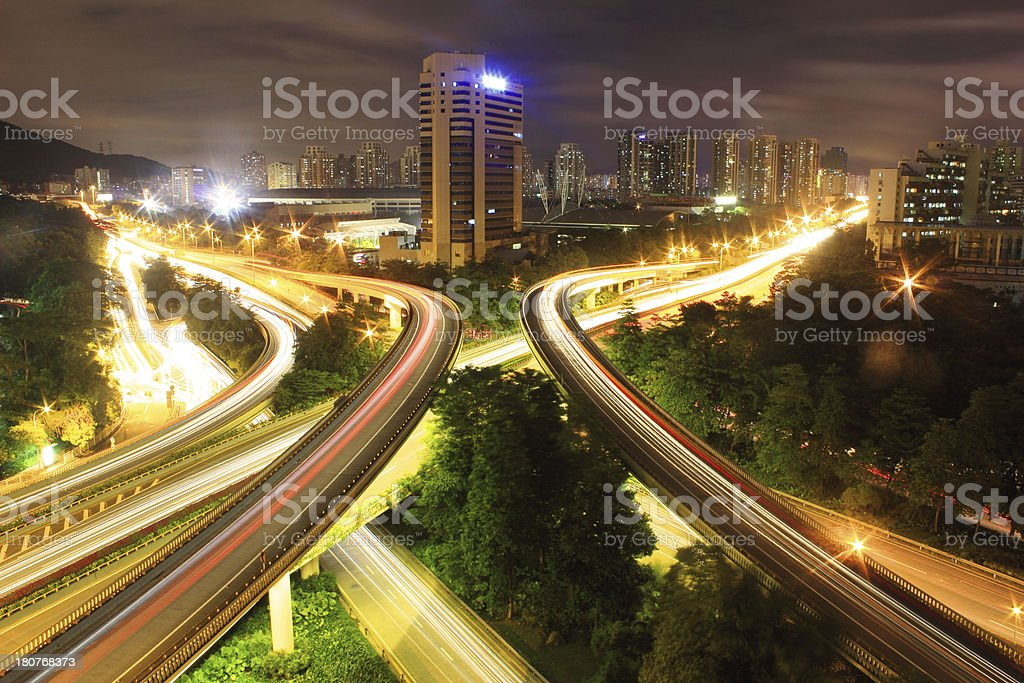 traffic to city with blur motion car ligh royalty-free stock photo