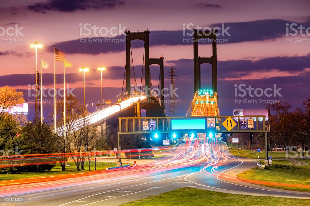 Traffic trails on Delaware Memorial Bridge stock photo