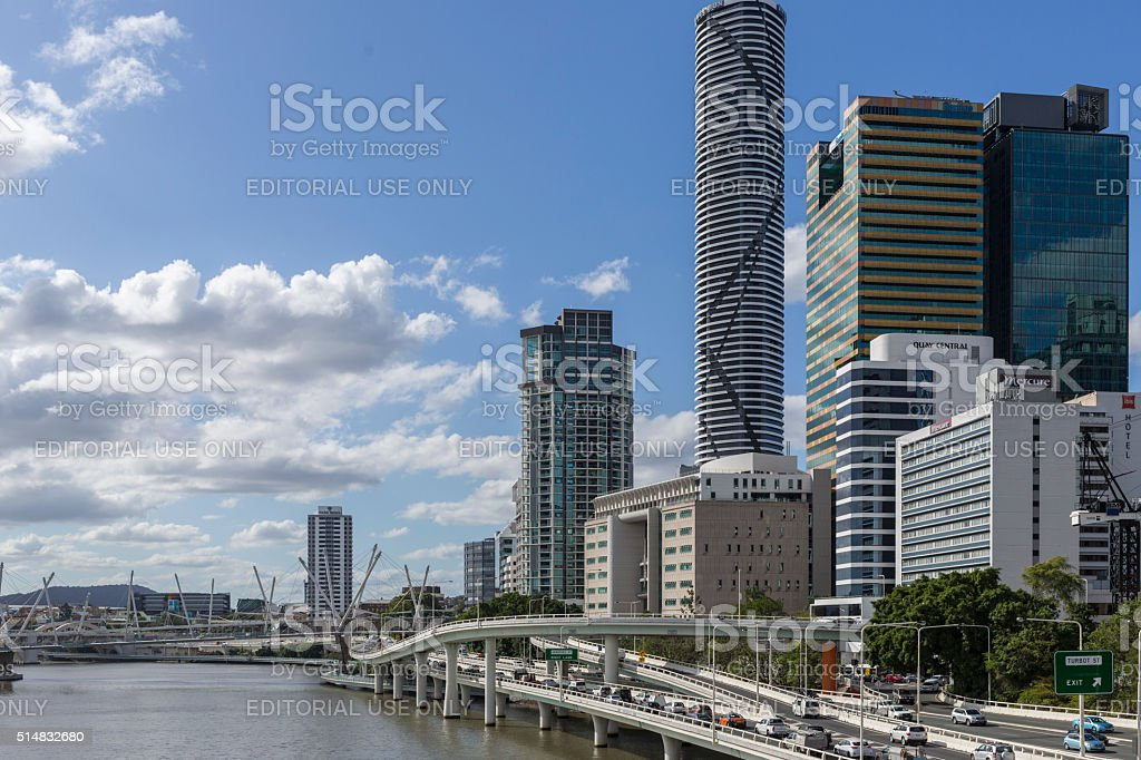 Traffic Travelling Past the Brisbane, Australia, CBD stock photo