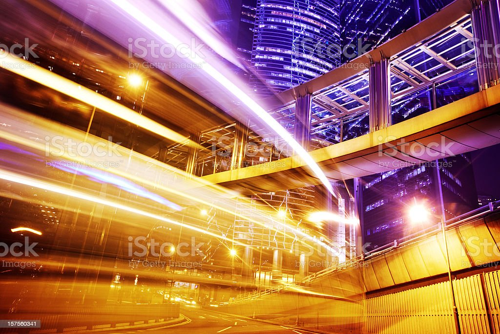 Traffic trough Business District royalty-free stock photo