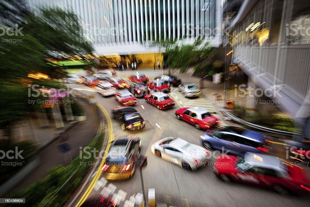 Traffic trough Hong Kong royalty-free stock photo