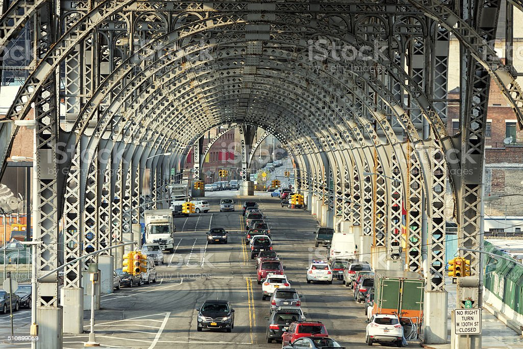 Traffic Under Riverside Drive Viaduct, New York stock photo