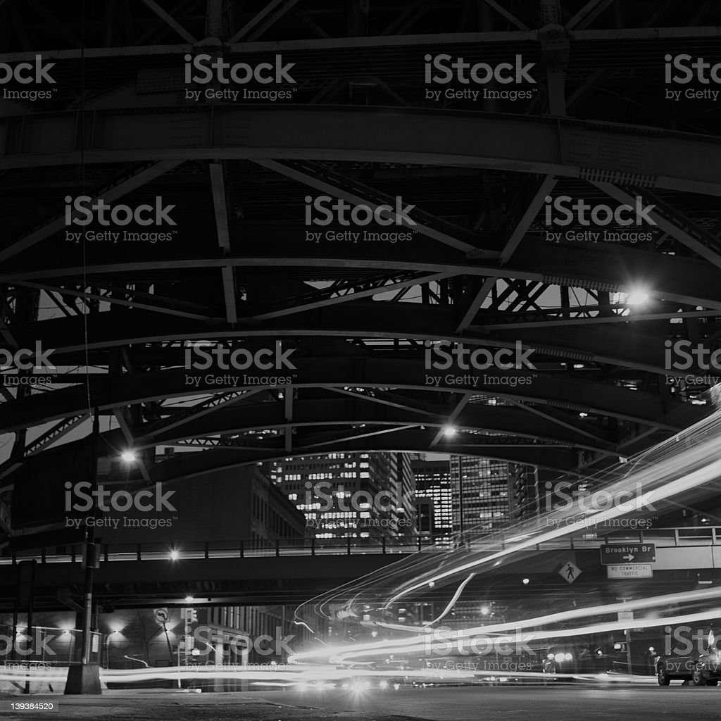 NY traffic under the bridge royalty-free stock photo