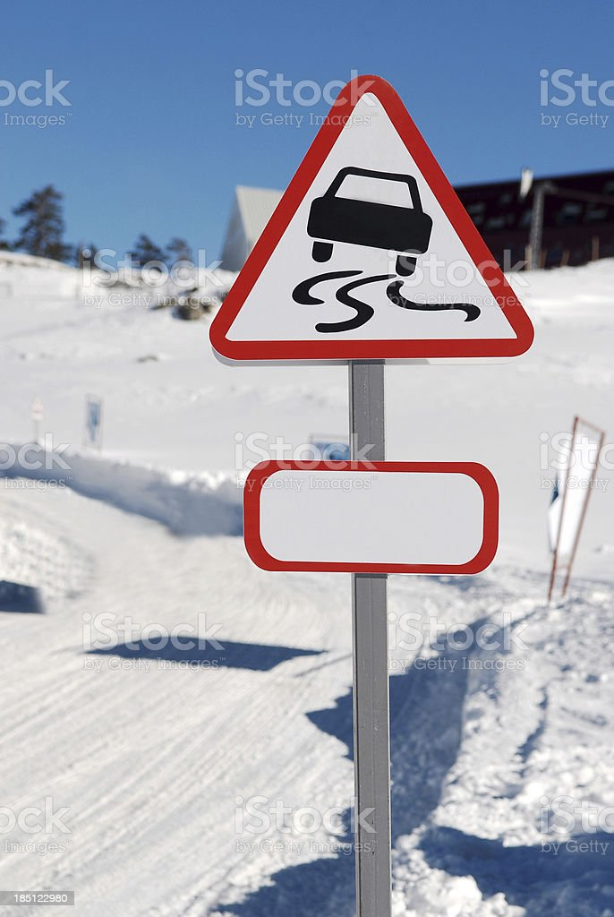 Traffic warning sign stock photo