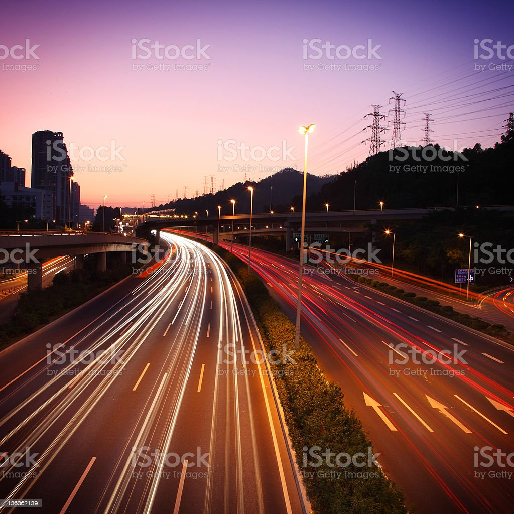 traffic with sunset royalty-free stock photo
