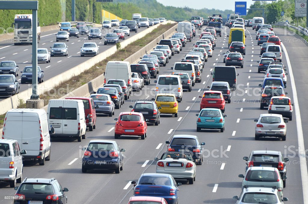 traffic-jam on highway stock photo