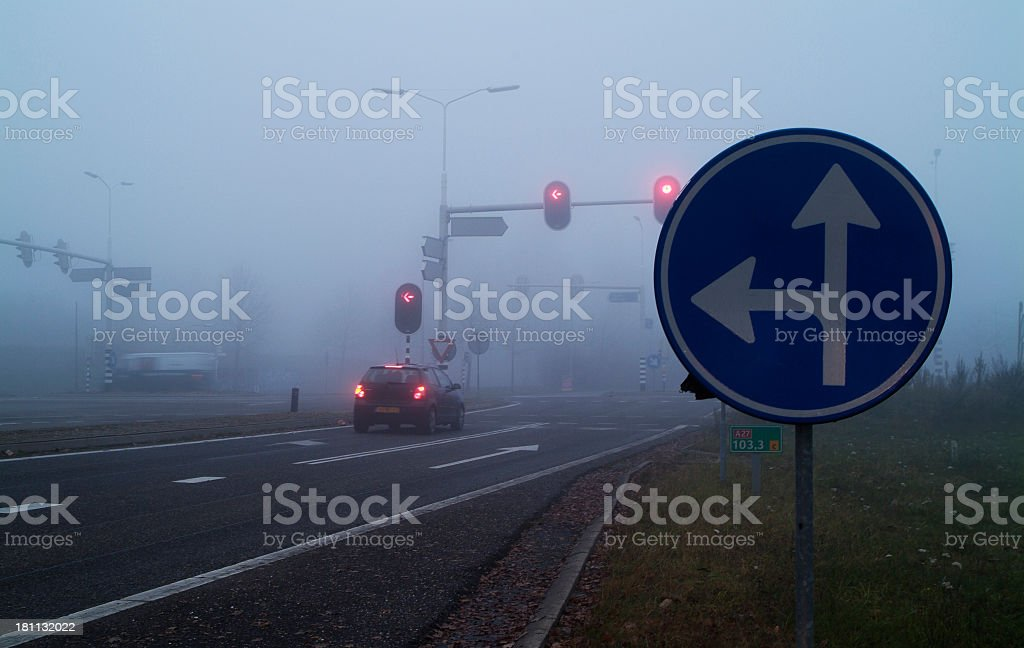 Trafficjunction in the mist royalty-free stock photo