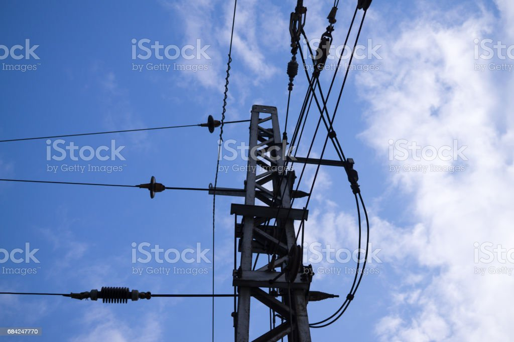Trafo station with wires. stock photo