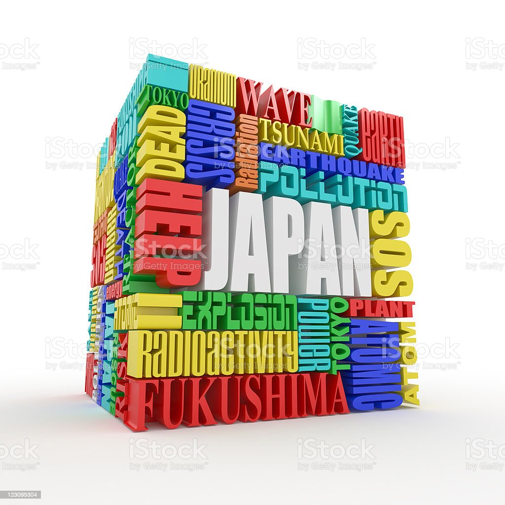Tragedy in Japan. Words. stock photo