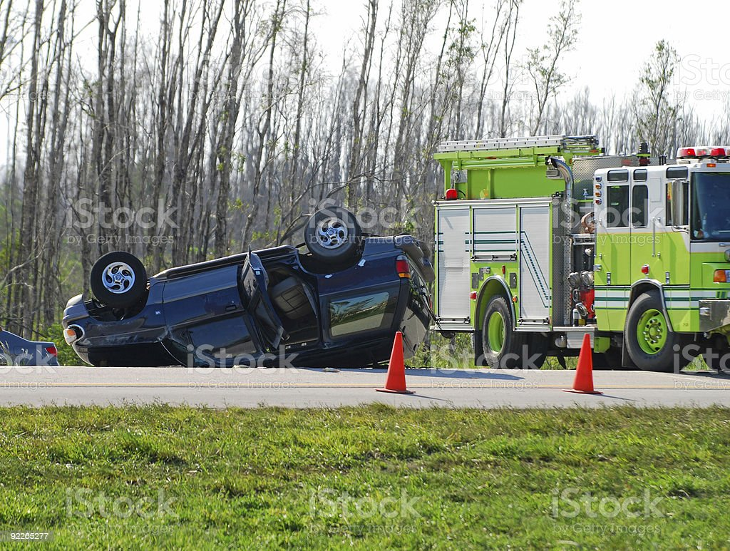 Tragic car accident stock photo