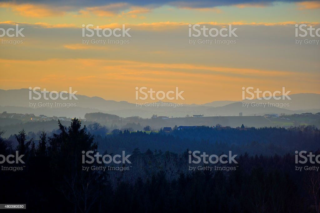 Tragwein - looking west at Christmas time stock photo