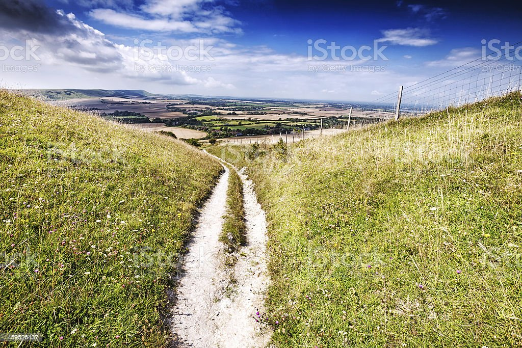 Trail across the South Downs in England stock photo