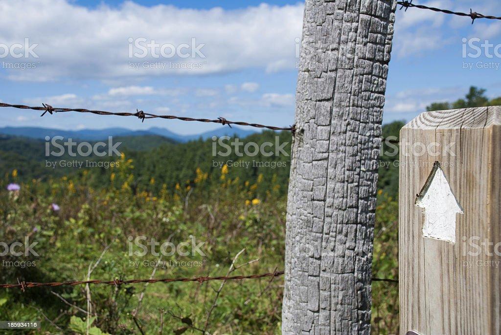 Trail Arrow in the Blue Ridge Mountains royalty-free stock photo