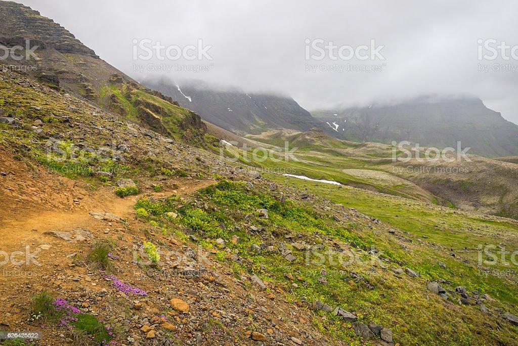 Trail at Esja mountain in Iceland stock photo