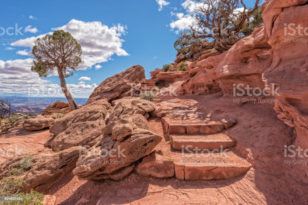 Trail At Grandview Point In Canyonlands National Park stock photo