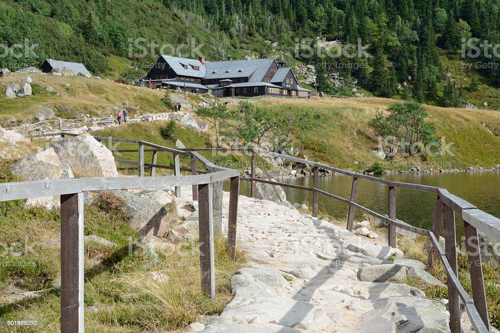 Trail at lake nearby Samotnia mountain hostel. stock photo