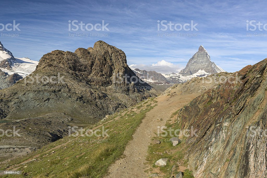 Trail at Riffelhorn with Matterhorn, Zermatt, Alps, Switzerland stock photo