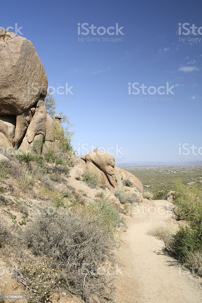 Trail Beside Rock royalty-free stock photo