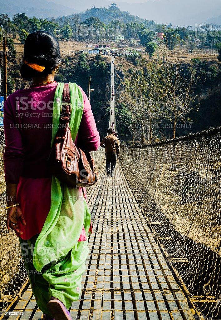 Trail (suspension) Bridge in Parbat, Nepal stock photo
