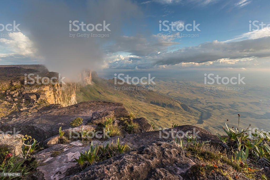 Trail down from the plateau Roraima passes stock photo