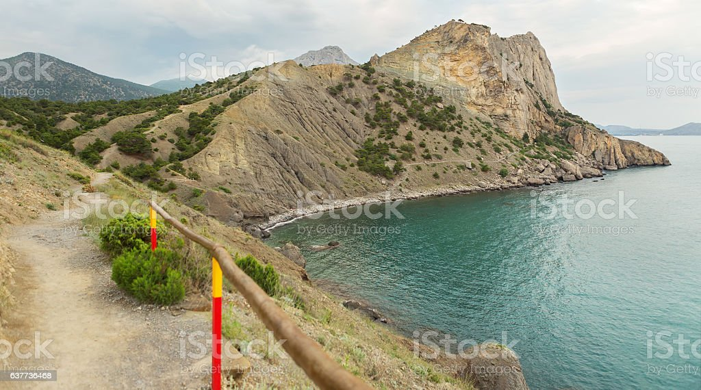 Trail Golitsyn - Falcon Path a mountain pathway carved on stock photo