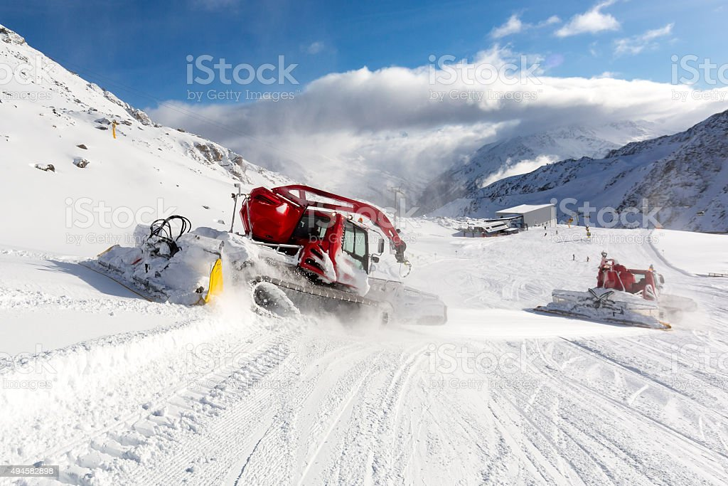 Trail groomer stock photo