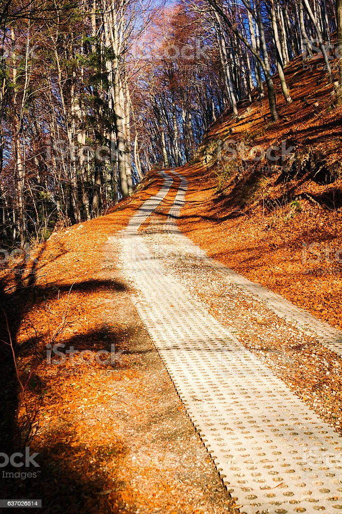 Trail in mountains in late autumn stock photo