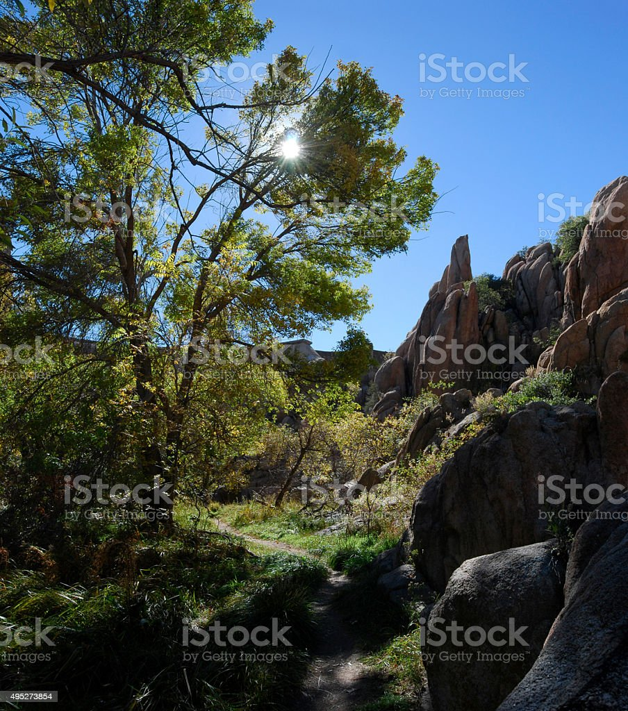 Trail in the Granite Dells stock photo