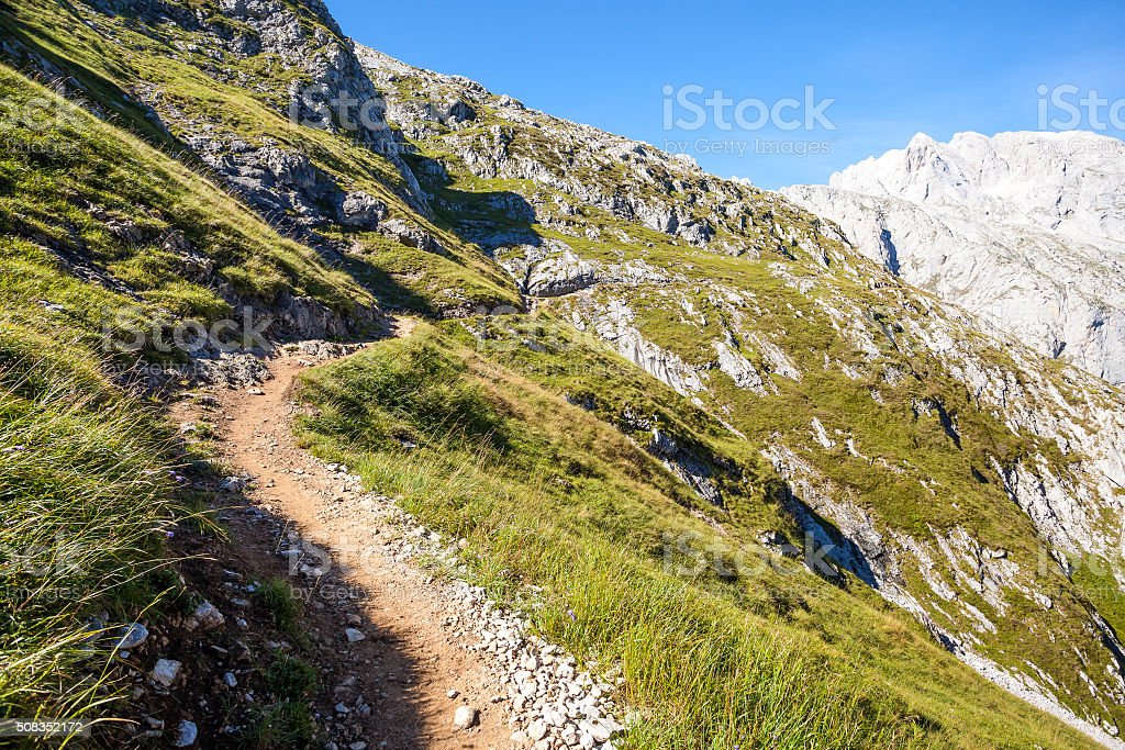 Trail in the Spanish mountain stock photo