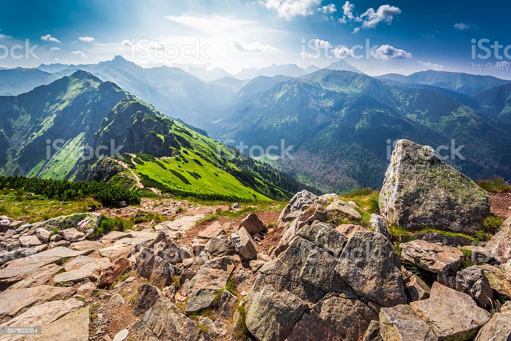Trail in the Tatras Mountains at sunny day stock photo